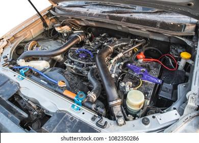 Diesel engine 2.5 litre under the hood of pickup truck