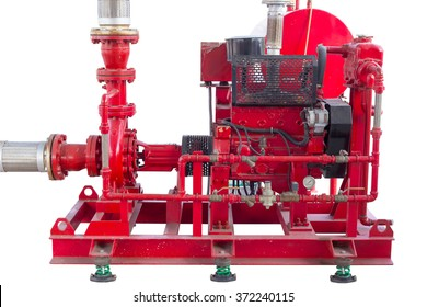 Diesel engine driven fire pump isolated on white background.