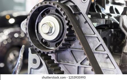 Diesel Engine timing belt ; close up ; rubber part