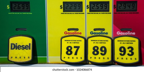 Diesel and gas Octane rating and high prices at the gas pump. Yellow buttons to choose your poison and unleaded or premium gasoline. Fossil fuels power our cars and transportation and cost is rising