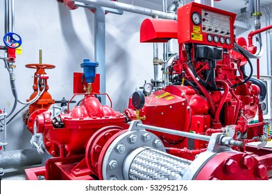 diesel generator for fire control system red piping and valve