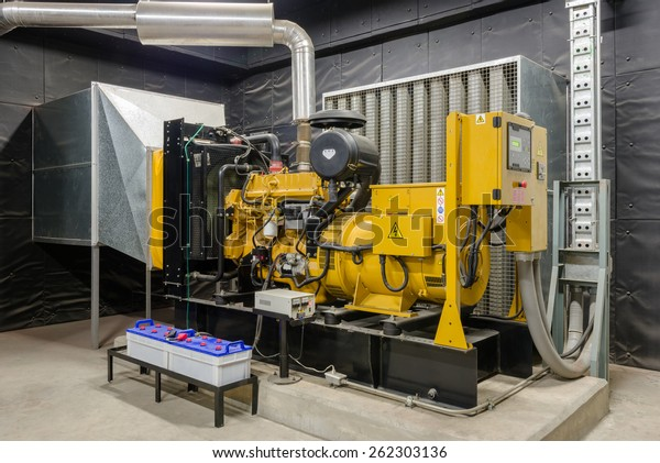 Diesel generator unit has a unit mounted radiator and fuel filter system.