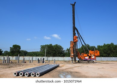 diesel hammer pile driving machine working on construction field
