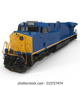 Diesel Locomotive on white. 3D illustration