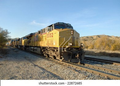 Diesel locomotives and freight train; San Timoteo Canyon; Redlands, California