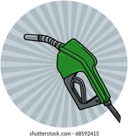 Diesel pump nozzle illustration; Green pump drawing