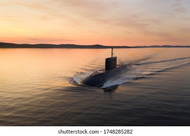 Diesel submarine in the bay.