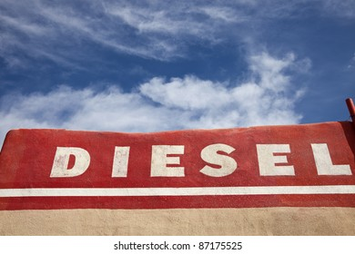 Diesel word written on the wall of the building