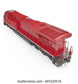 Diesel-electric locomotive on white. 3D illustration, clipping path