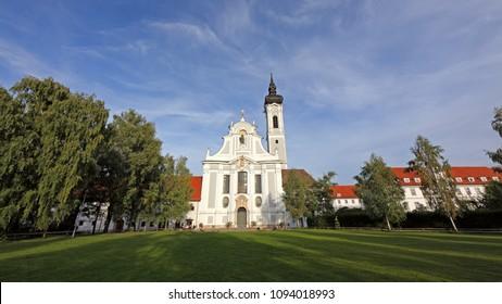 DIESSEN AM AMMERSEE / GERMANY - SEPTEMBER 22th, 2013: Western facade of 18th century baroque Marienmuenster Church.