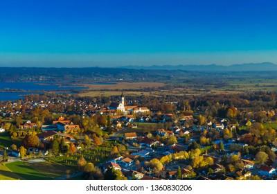 Diessen am Ammersee, Lake Ammer, Aerial view, Upper Bavaria, Bavaria, Germany, Europe
