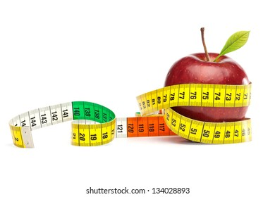Diet Concept with apple and measuring tape, isolated on white background