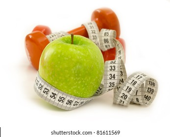 diet concept, apple and measuring tape