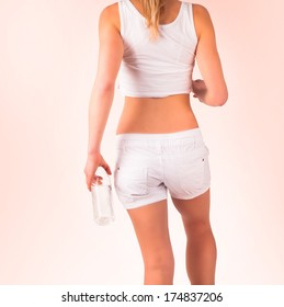 Diet concept. Fit blond woman, isolated