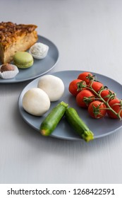 Diet Concept Photography Sweets Against Vegetables