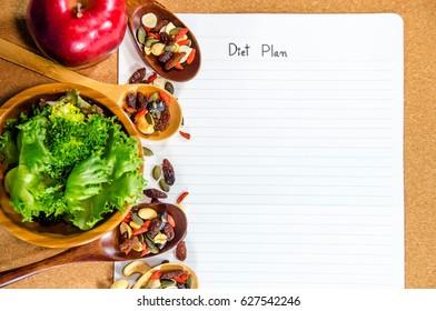 Diet concept with diet plan.