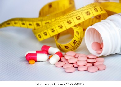 Diet concept; Slim by pills, dangerous for health.