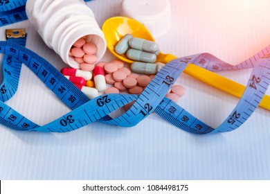 Diet concept; Slim by pills, dangerous for health.