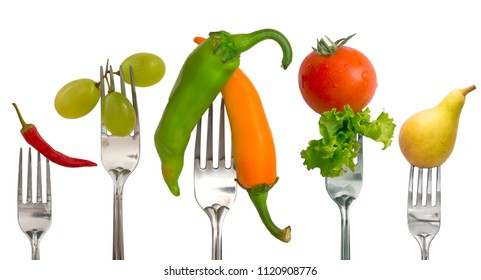 Diet concept, vegetables and fruit on the forks