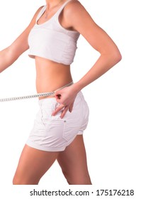 Diet concept. Woman measuring her waist, isolated