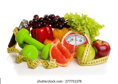 Diet concept.Fitness equipment, healthy food with weight scale isolated on white background