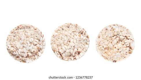 Diet crispy round bread isolated on white background.