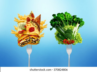 Diet decision concept and nutrition choices dilemma between healthy good fresh fruit and vegetables or greasy cholesterol rich fast food.