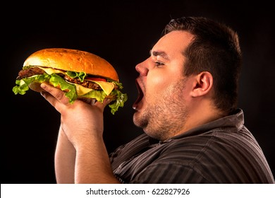 Diet failure of fat man eating fast food hamberger. Breakfast for overweight person who spoiled healthy food by eating huge hamburger. Junk meal leads to obesity. Person regularly overeats concept .
