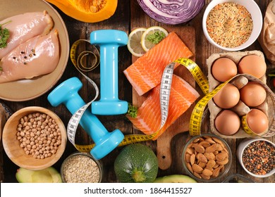 concept de nourriture diététique - aliment riche en protéines