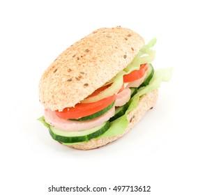 diet food concept - sandwich and meter