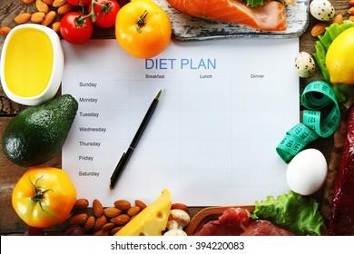 Diet food and diet plan on wooden background