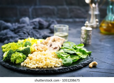 diet food,boiled bulgur with vegetables and egg