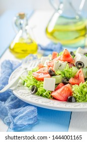 Diet Greek salad with tomatoes, lettuce and feta cheese