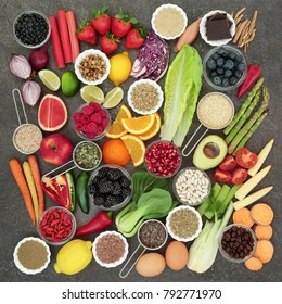 Diet health food and herbal medicine with herbs used as appetite suppressants, legumes, seeds, vegetables, fruit, coffee and supplement powders. Dieting concept
