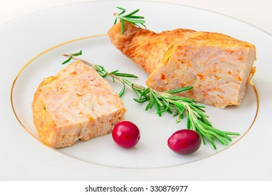 Diet and Healthy Food: Stuffed Chicken with Vegetables. Studio Photo