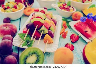 Diet, healthy fruit salad, fruit skewer - healthy breakfast, weight loss concept