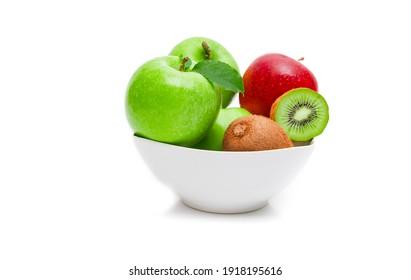 Diet, healthy fruit  in the white bowl - healthy breakfast. Stil