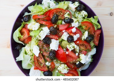 Diet and healthy mediterranean salad