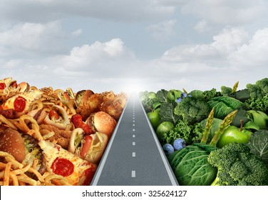 Diet lifestyle concept or nutrition decision symbol and food choices dilemma between healthy good fresh fruit and vegetables or greasy cholesterol rich fast food with a road or path between.
