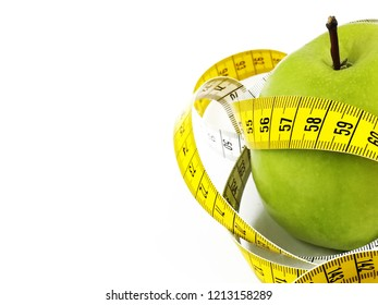 diet measures and healthy life with apple and water