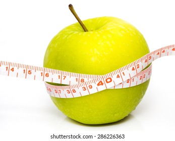 Diet organic green apple isolated