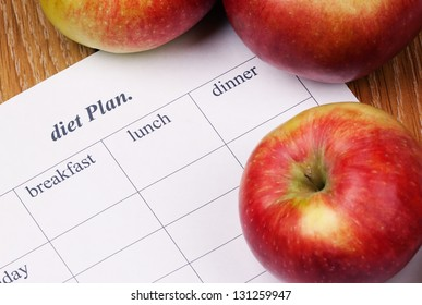 diet Plan. diet plan and a apples lying on a wooden surface