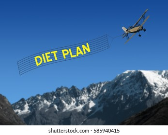 Diet Plan banner pulled by plane on mountain and sky background
