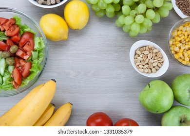 diet plan with fresh vegetables and fruits on the table top view