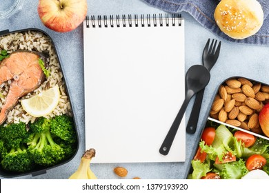 Diet plan mockup with healthy lunch boxes and empty notepad. Space for text. Flat lay.