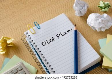 diet plan on notebook on desk