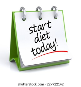 Diet Planning. 3D illustration of a calendar on a white floor/background with icon.