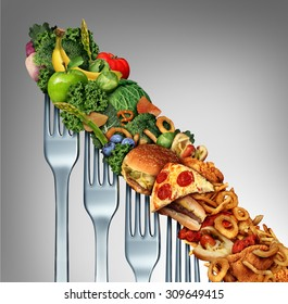 Diet relapse change as a healthy lifestyle slowly goes downward to greasy unhealthy fast food concept as a dieting decline as a group of descending forks with meal items on them.