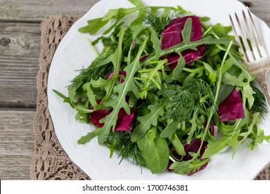 Diet salad made from fresh herbs.