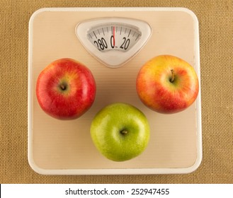 Diet and weight loss concept with weighing scale and apples
